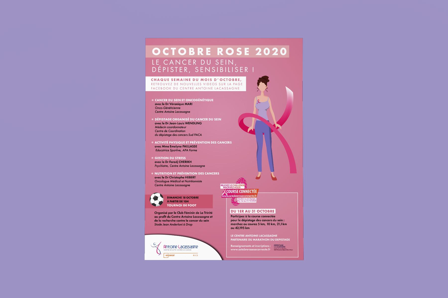 Visuel affiche Octobre Rose Centre antoine Lacassagne